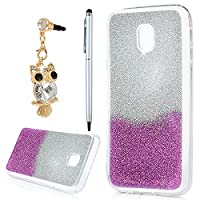 J3 Case 2017, YOKIRIN Luxury Bling Glitter Sparkle Designer Case Ultra Slim Fit Lightweight Shockproof Scratch Resistant TPU Gel Soft Thin Silicone Back Cover for Samsung Galaxy J3 2017, Sliver and Purple