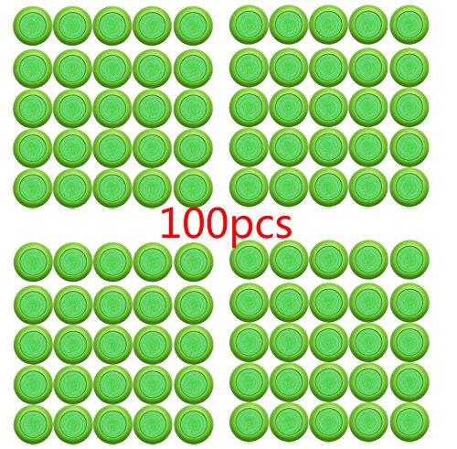justfund 100Grün EVA KIDS TOY Gun Bullet Dart Runder Kopf Blastern Soft Disc für Nerf Vortex Ammo Refills (Nerf Disc)