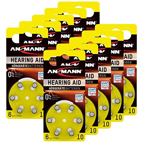 ANSMANN Hörgerätebatterien 10 gelb 60 Stück - Zink Luft Hörgeräte Batterien Typ 10 P10 ZL4 PR70 mit 1,4V - Knopfzelle mit besonders langer Laufzeit für Hörgerät Hörverstärker & Hörhilfe