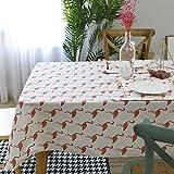 DKEyinx Flamingo Tischdecke Baumwolle Leinen Esstisch Schreibtisch Wohnmöbel Dekoration, Baumwolle + Leinen 100 * 140cm