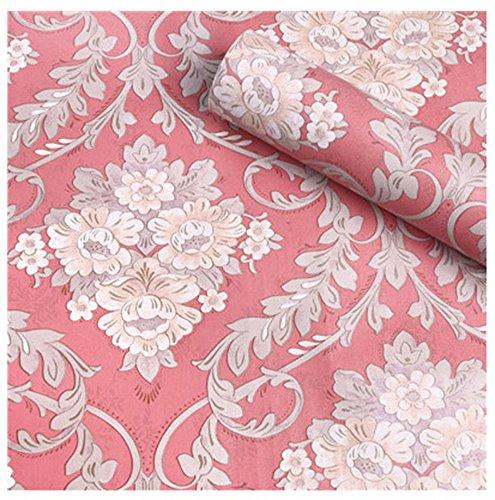 HOYOYO 43,2x 198,1cm Pink Selbstklebend Regal Liner, Feuchtigkeit Proof Kommode Schublade Papier Regal Schimmelfest Antifouling Kontakt Papier, Blumen Damast - Schublade Papier Kommode Für Liner