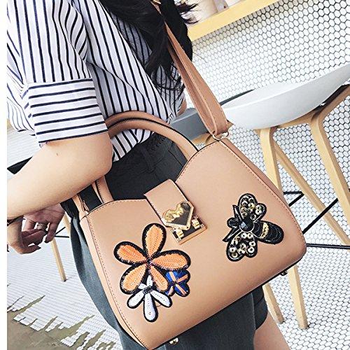 Frauen Mode Stickerei Leder-Handtasche Schultertasche Umhängetasche Multicolor Yellow
