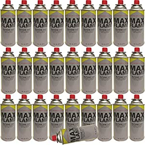 61LuM%2B3ZhYL. SS300  - NEW 28 PC X MAX FLAME BUTANE GAS BOTTLE CANISTERS 28PC BOTTLES FOR COOKER HEATER STOVE BBQ CAMPING PACK OF 28