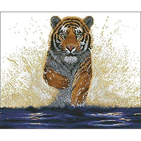 Tela Aida de 14de punto de cruz kit de tigre con Colorful Gráfico da038