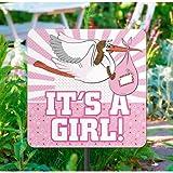 Gartenschild * IT'S A GIRL * zur Baby Shower Party | Mädchen Geburt | 53cm groß | Alle lieben diese pinke Storch Deko