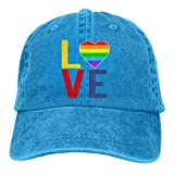 Zhgrong Caps Unisex LGBT Gay Pride Love Denim Jeanet Baseball Cap Adjustable Outdoor Sports Cap for Men Or Women Baseball Cap