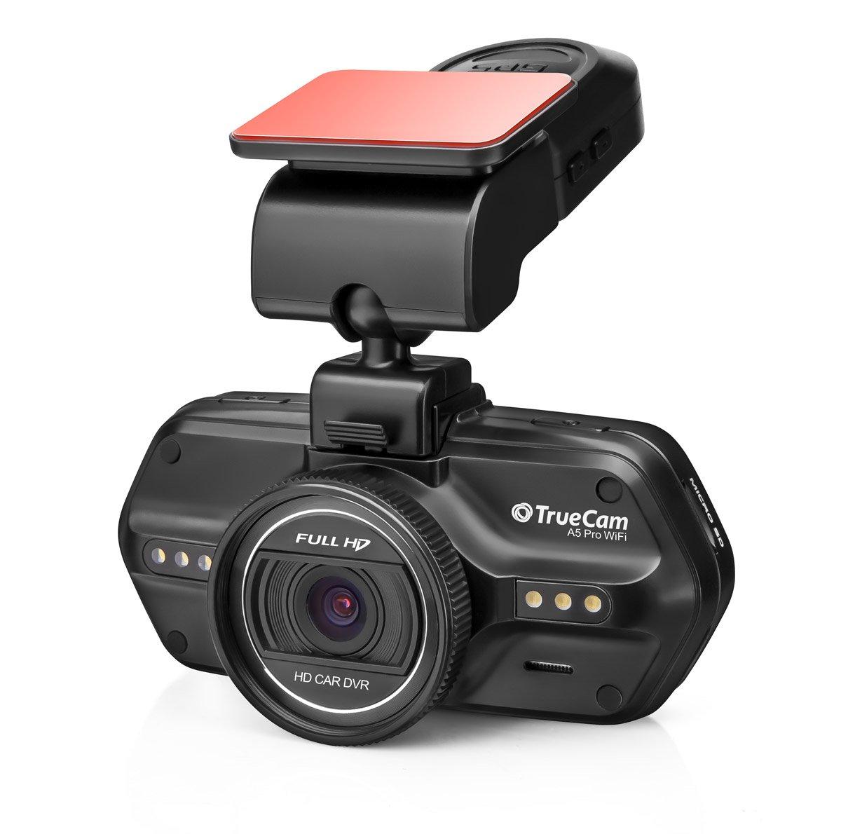 TrueCam-A5-Pro-WiFi-GPS-Dashcam-Autokamera-Full-HD-1080p-mit-Blitzerwarner-praktische-WLAN-Verbindung-Endlosschleife-G-Sensor-und-Dateisperrung-LCD-Display-mit-deutschem-Men-Schwarz