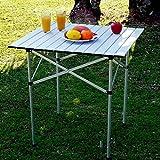 Buyi-World Aluminium Klapptisch Falttisch Gartentisch Campingtisch mit Tragetasche Klappbar Faltbar Silber 70x70x70cm