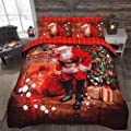 Father Christmas Delivering Gifts Luxurious Duvet Sets In Single Or Double ,REVERSIBLE  By Pieridae