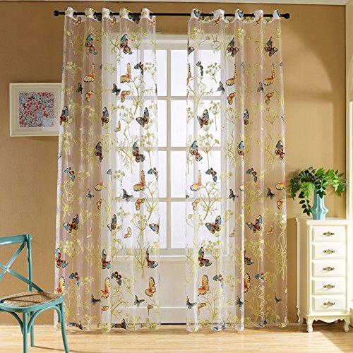 MORESAVE Porte e finestre Balcone farfalla Stampa cortina di tulle Voile Drape pannello mantovane sciarpa pura