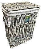 Wäschekorb, Weide mit Einsatz aus Baumwolle, rechteckig, mittelgroß, Grau