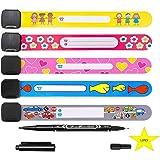 LIZHIGE Bracelet identification pour enfant 12 pièces Equipé d'un stylo spécial Bracelet réutilisable Étanche Bracelet SOS Fi