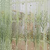 Silvercell Trees Sheer Tulle Voile Curtain Window Room Drape Panel Scarf Valance Green
