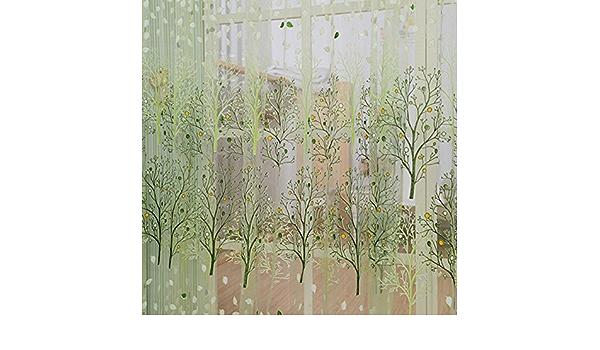 Bedler 2 Pezzi 100 250 cm Elegante High-End Motivo Floreale Tende della Finestra con Perline Porta Tenda del Voile Finestra Drappo divisorio Camera impostazione della Parete Decorazione della