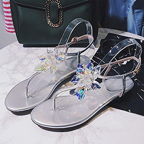 Clipe Toe De Luxo Artesanal Strass Senhoras Sandálias De Moda Confortável Sapatos Femininos Prata