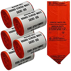 5x Rolle orange klinischen Biohazard klinischen Chirurgischer Abfallbeutel Säcke, 250Taschen