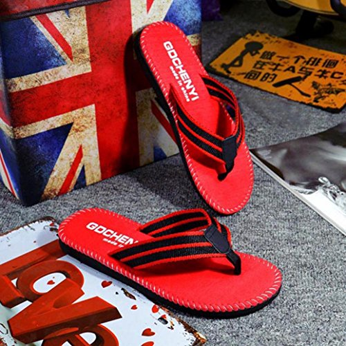 Saingace Männer Sommer Streifen Flip Flops Schuhe Sandalen Slipper Rot