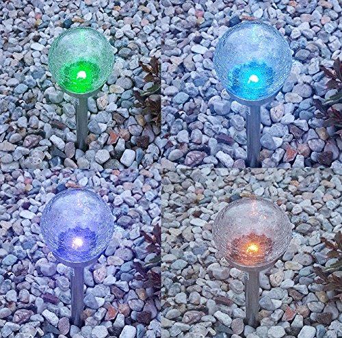 9er Set XL Premium LED Solarlampen RGB Farbwechsel oder kaltweiß schaltbar Edelstahl Kristallglas Ø 11 cm Gartenkugeln Solarkugeln Kugelleuchten Gartendeko Gartenbeleuchtung