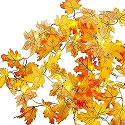 Anpro 3.4M Herbstgirlande mit 30 Lichtern herbstdekoration Herbst Blättergirlande Herbst Ahornblätter Lichterkette für Herbst