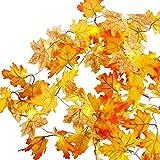Pttengcheng 3.4M Herbstgirlande mit 30 Lichtern herbstdekoration Herbst Blättergirlande Herbst Ahornblätter Lichterkette für Herbst