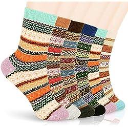 Aiglam Lana Mujer Calcetines,6 Pares Calcetines Termicos Mujer Premium Calidad Calcetines Acogedores de Invierno Vintage, Suaves, Cálidos, Gruesos, Transpirables Punto Calcetines