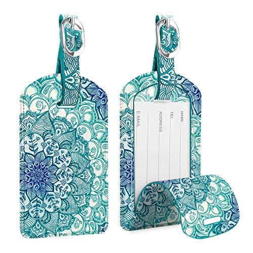 [2 Stück] Fintie Kofferanhänger aus Kunstleder, Gepäckanhänger ID Etikett mit Adressschild Namenschild für Reisetasche Koffer, smaragdblau