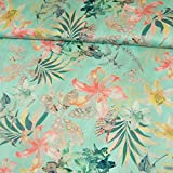 Baumwoll Satin Sommer Blumen Mint Modestoffe Damenstoffe