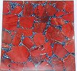 Rajasthan Gems handgefertigt Semi Precious rot Jasper Stone Couchtisch Top dekorativ mit Ständer