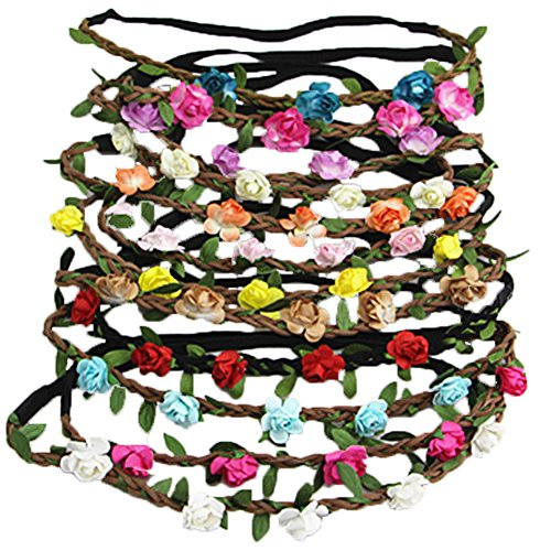 sen Blumen Stirnbänder Haarband für Frauen Mädchen Haarzubehör (Rote Weiße Und Blaue-blumen-stirnband)