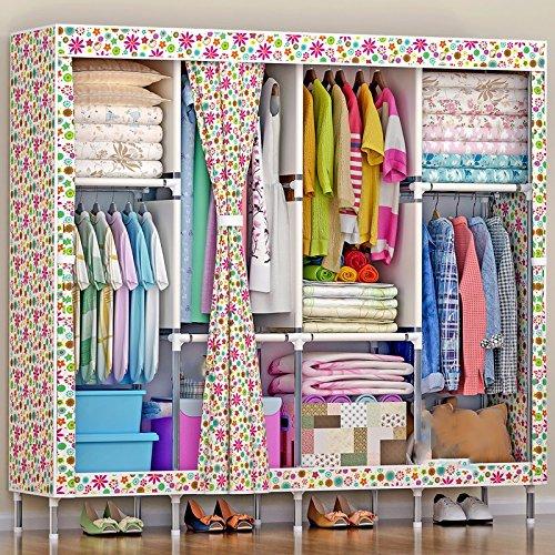 LESX - Tuch Schrank Moderne Easy Home Oxford Tuch Bold Verstärkung 19 Mm Großen Schränken Stahlrohr Schmuck-schrank Elfenbein