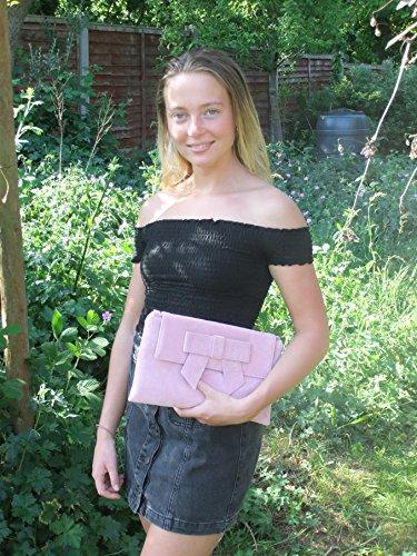 LONI Damen Clutch Abiball Hochzeit Tasche mit Schleife in Kunst Wildleder in Marine Blau Bonbon Rosa