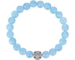 MetJakt Naturelles 8mm Pierres Bracelet précieuses de guérison avec Cristal Bangle en Perles avec Pendentif en Argent Sterlin