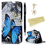Mavis's Diary Galaxy A3 Cover ,Samsung Galaxy A3 Case (2017 Model) - Wallet Flip Bumper Cover PU Leather Case Shockproof Prints Design with Soft Inner TPU Case Slim Fit Folio Stand Protective Magnetic Closure Cover with Dust Plug & Stylus for Samsung Galaxy 2017 A3 - Blue Butterfly