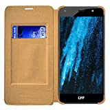 Roxel Premium Textured Leather Flip Cover for LYF Water F1S (Gold)
