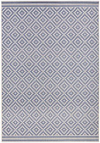 bougari In- und Outdoor Teppich Raute Blau Creme, 200x290 cm - Blauer Teppich Outdoor Teppiche