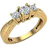 Past present future inciso gambo tre pietra anello anniversario diamante anello di fidanzamento in oro 14K (g, si)