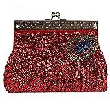 vintage peacock antique perlé sequin soirée sac à main dinner party embrayage sacs à main. 22 x 14 x 4 cm . red . one size