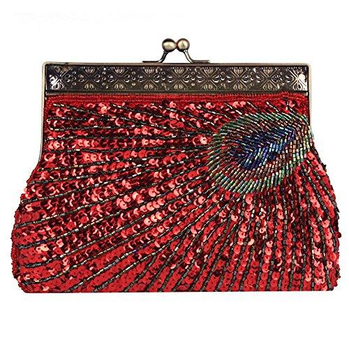Vintage Peacock Antique Perlen Pailletten Abend Handtasche Dinner Party Clutch Taschen Geldbörse. 22 X 14 X 4 Cm red