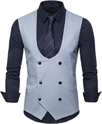 GRMO Men Waistcoat Double-Breasted Business Sleeveless Casual Suit Vest
