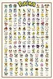 Poster Pokémon Kanto 1Ère Génération - Papier Glacé - 91x61cm