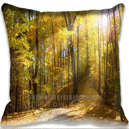 landscape Road and Autumn Leaf Cushion Cover