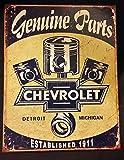 Chevrolet Chevy piezas originales pistones envejecido Retro Vintage Tin Sign por desesperada