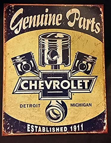 Chevrolet Chevy Genuine Parts Pistons Distressed Retro Vintage Tin Sign by desperate