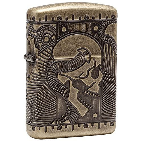 Zippo Armor Steam Punk Skull Windproof Pocket Lighter - Antique Brass