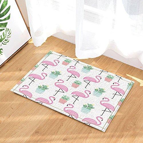 Cartoon Plant Decor fenicottero tropicale con cactus in vasi per bambini da bagno tappeto antiscivolo zerbino Floor Entryways indoor outdoor Front Door Mat Kids scendibagno 60x 40cm da bagno.