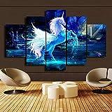 Gemini _ Mall® 5Stücke Moderne Weiß Einhorn Bild auf Leinwand gedruckt Wall Art Print Picture Painting Home Decor-Rahmen nicht im Lieferumfang enthalten White Unicorn