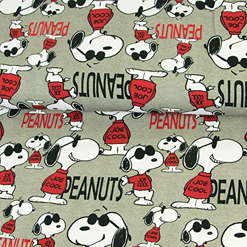 Baumwolljersey Lizenzstoff Peanuts Snoopy Joe Cool grau Kinderstoffe GOTs zertifiert - Preis gilt für 0,5 Meter