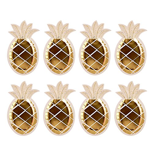 Party Teller – bloomma Gold Folie Einweg Ananas Party Teller Hawaii Party Supplies Fruit Muster Pappteller, 25cmx14.5 cm 16PCS
