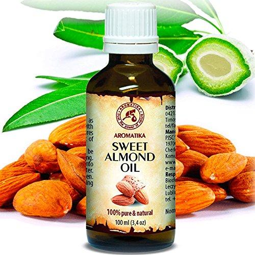 Mandelöl 100ml - Kaltgepresst - Rein und Natürlich - Mandel Öl - Intensive Pflege für Gesicht - Körperöl - Haare - Haut - Gefrierschrank Rezepte
