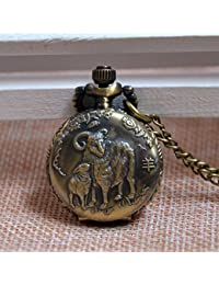 ShopyStore Vintage Antique Classic Style Chinese Zodiac Sheep Embossed Small Quartz Pocket Watch Ana